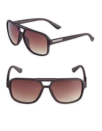 Alfred Sung 57mm Cut-Out Aviator Sunglasses-BROWN-One Size