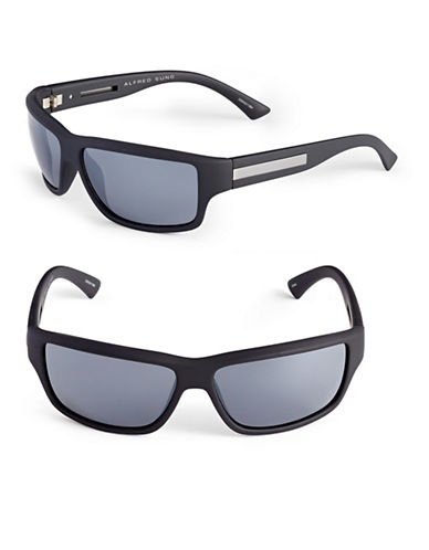 Alfred Sung 62mm Rubberized Wrap Sunglasses-BLACK-One Size