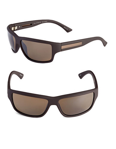 Alfred Sung 62mm Rubberized Wrap Sunglasses-BROWN-One Size