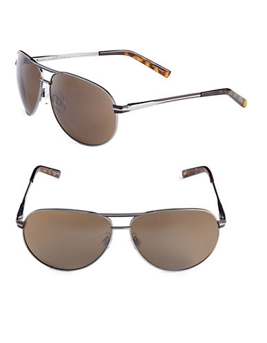 Alfred Sung 65mm Metallic Oval Aviator Sunglasses-GUNMETAL-One Size
