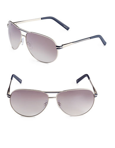 Alfred Sung 65mm Metallic Oval Aviator Sunglasses-SILVER-One Size