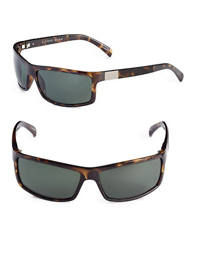 Alfred Sung 65mm Polarized Ribbed Rectangle Sunglasses-TORTOISE-One Size