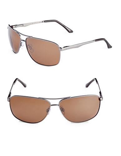 Alfred Sung 64mm Polarized Rectangle Aviator Sunglasses-GUNMETAL-One Size
