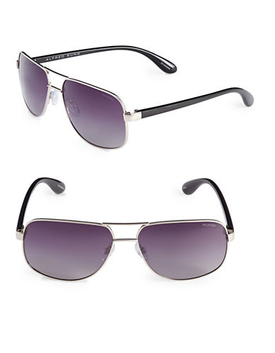Alfred Sung 60mm Square Slim Sunglasses-SILVER-One Size