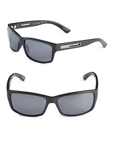 Alfred Sung 60mm Polarized Rectangle Cut-Out Sunglasses-BLACK-One Size