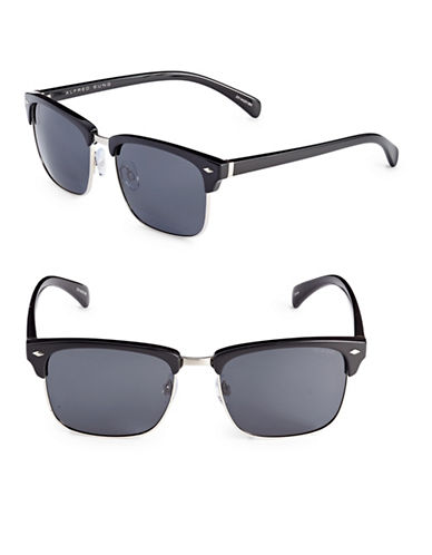 Alfred Sung 55mm Polarized Clubmaster Sunglasses-BLACK-One Size