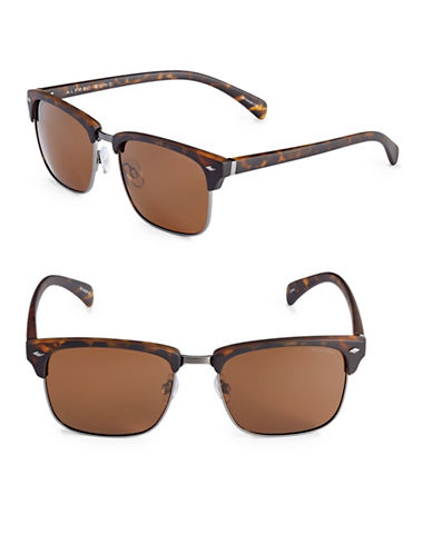 Alfred Sung 55mm Polarized Clubmaster Sunglasses-TORTOISE-One Size