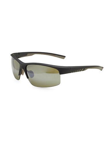 Izod 63MM Sports Blade Sunglasses-BLACK-One Size