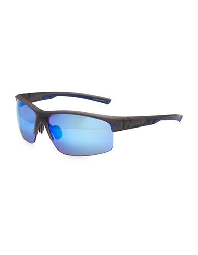 Izod 63MM Sports Blade Sunglasses-NAVY BLUE-One Size