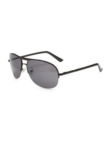 Alfred Sung 58MM Semi-Rimless Square Aviator Sunglasses-GREY-One Size