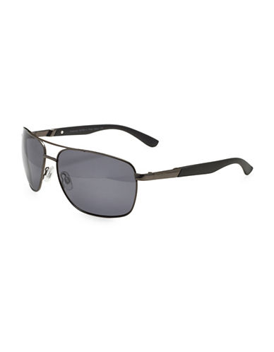 Alfred Sung 59MM Square Aviator Sunglasses-BLACK-One Size