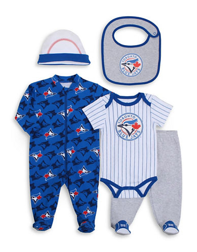 Snugabye MLB Toronto Blue Jays 5-Piece Sleeper, Pants, Bodysuit, Cap, and Bib Set-BLUE-6 Months