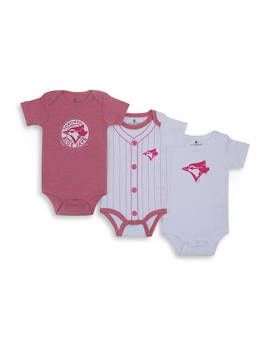 Snugabye Three-Pack MLB Toronto Blue Jays Bodysuit Set-PINK-3 Months