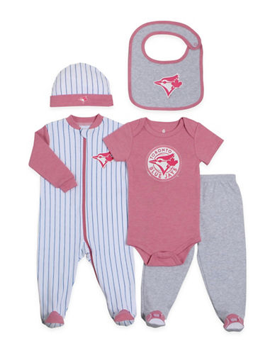 Snugabye MLB Toronto Blue Jays 5-Piece Sleeper, Pants, Bodysuit, Cap, and Bib Set-PINK-3 Months