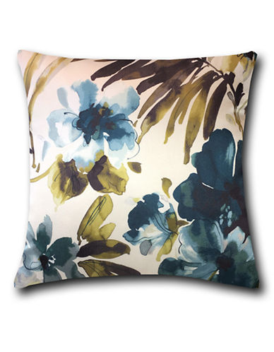 Home Outfitters Silky Floral Print Throw Pillow-TURQUOISE-18x18