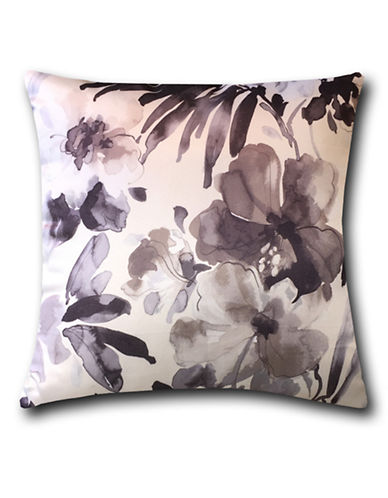 Home Outfitters Silky Floral Print Throw Pillow-GREY-18x18