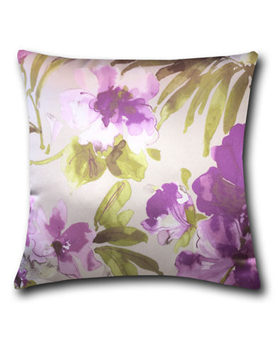 Home Outfitters Silky Floral Print Throw Pillow-MAUVE-18x18