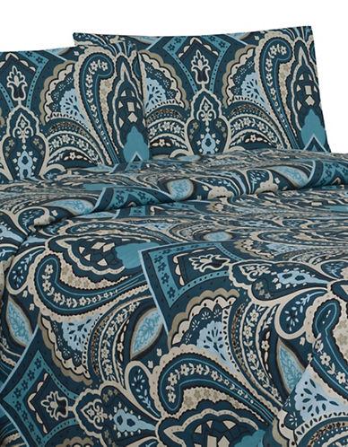 Life Style Linens Paisley Four-Piece Sheet Set-BLUE-King