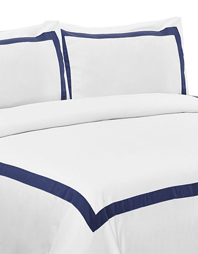 Life Style Linens Estate Three-Piece Duvet Cover Set-NAVY-King