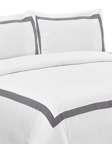 Life Style Linens Estate Three-Piece Duvet Cover Set-GREY-Queen