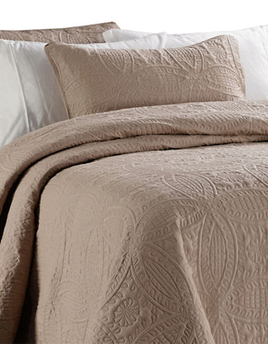 Life Style Linens Millano Chambrey Three-Piece Quilt Set-BROWN-King