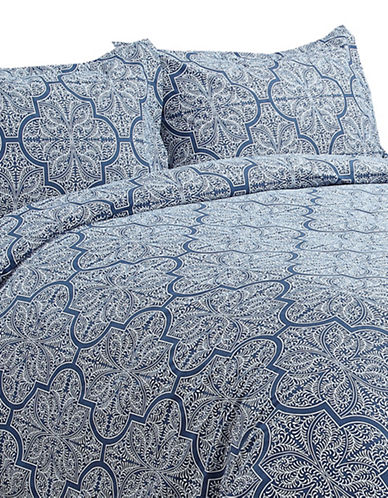Life Style Linens Dynasty Three-Piece Duvet Cover Set-NAVY-Queen