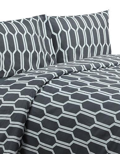 Life Style Linens Wilton Four-Piece Sheet Set-GREY-Double