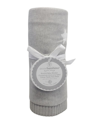 Piccolo Bambino Knitted Jacquard Star Baby Blanket-GREY-One Size