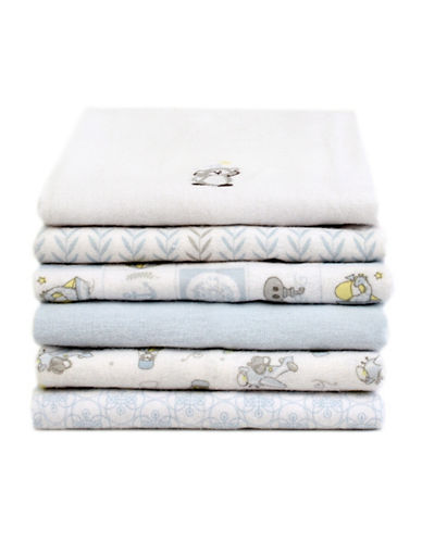 Piccolo Bambino 6 Pack Flannel Receiving Blankets-ASSORTED BLUE-One Size