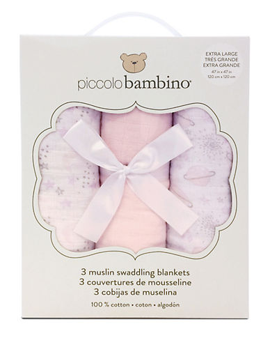 Piccolo Bambino 3 Pack Muslin Blankets In Box-PINK-One Size