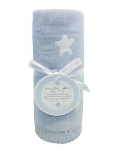 Piccolo Bambino Knitted Jacquard Star Baby Blanket-BLUE-One Size
