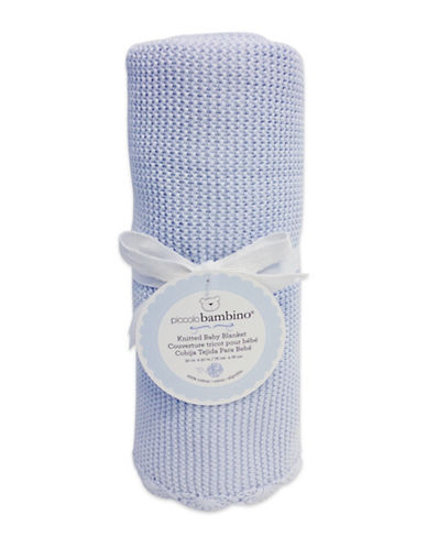Piccolo Bambino Knitted Baby Blanket-BLUE-One Size