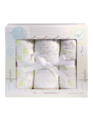 PICCOLO BAMBINO 3 Pack Muslin Blankets In Box green