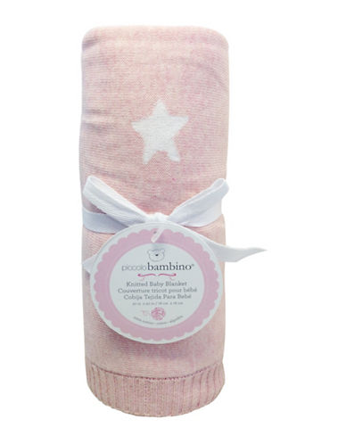 Piccolo Bambino Knitted Jacquard Star Baby Blanket-PINK-One Size