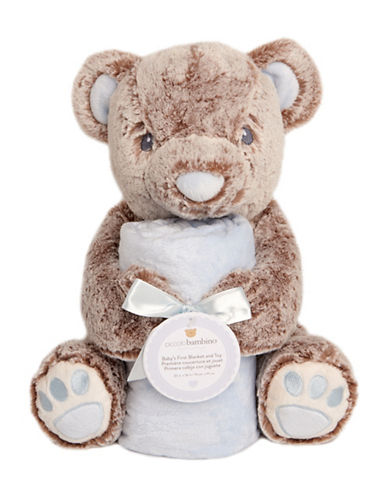 Piccolo Bambino Baby First Blanket and Toy Bear-PURPLE-6-18 Months