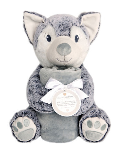 Piccolo Bambino Baby First Blanket and Toy Bear-GREY-6-18 Months