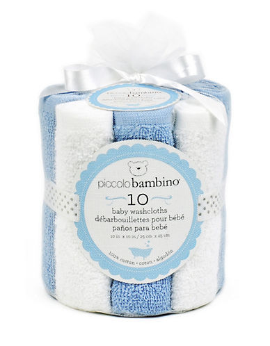 Piccolo Bambino Pack of Ten Baby Washcloths-BLUE-One Size