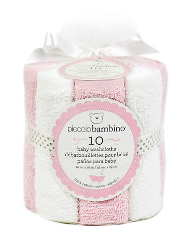 Piccolo Bambino Pack of Ten Baby Washcloths-PINK-One Size