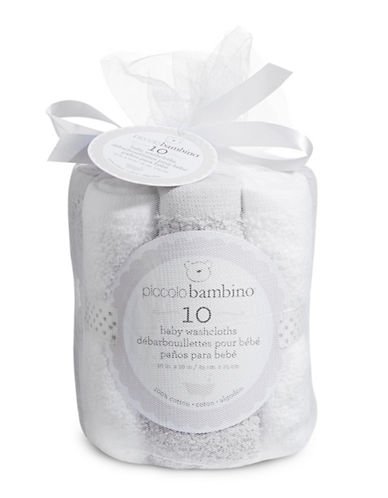 Piccolo Bambino Ten-Pack Cotton Baby Washcloths-GREY-6-18 Months