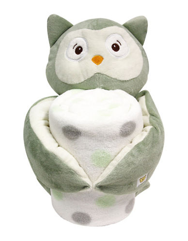 Piccolo Bambino Owl Blanket and Toy-GREEN-One Size