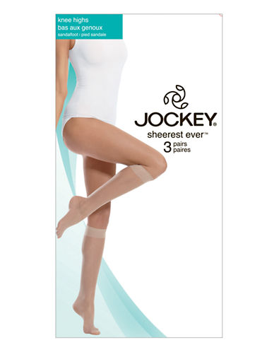 Jockey Sheerest Ever 15 D Knee High Sandalfoot 3-Pair-NUDE-1