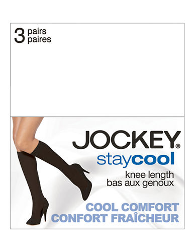 Jockey 3 Pack Stay Cool Knee High Pantyhose-TUXEDO BLACK-One Size