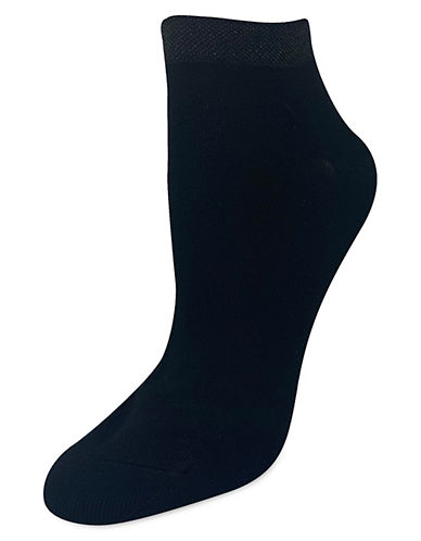 Silks Lurex Welt Anklet Socks-BLACK-One Size