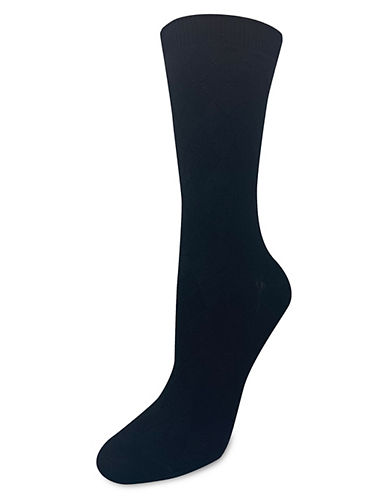Silks Textured Argyle Crew Socks-BLACK-One Size