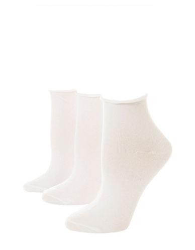 Jockey Pack of Three Flat Knit Roll Top Quarter socks-WHITE-One Size