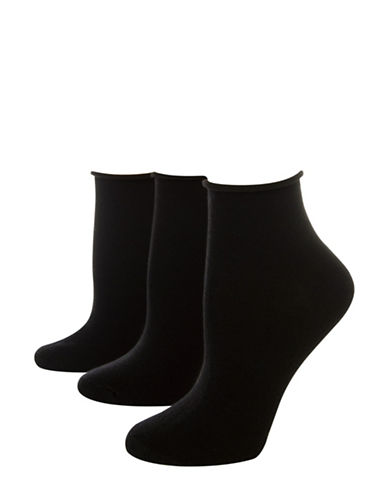 Jockey Pack of Three Flat Knit Roll Top Quarter socks-BLACK-One Size
