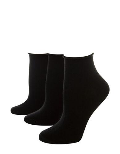 Jockey Pack of Three Flat Knit Roll Top Quarter socks-BLACK-One Size