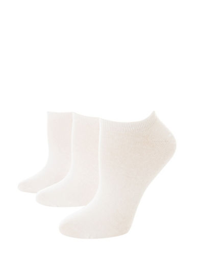 Jockey Pack of Three No Show Ankle Socks-WHITE-One Size
