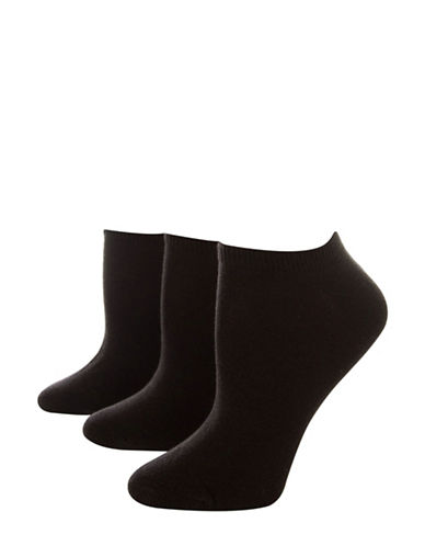Jockey Pack of Three No Show Ankle Socks-BLACK-One Size