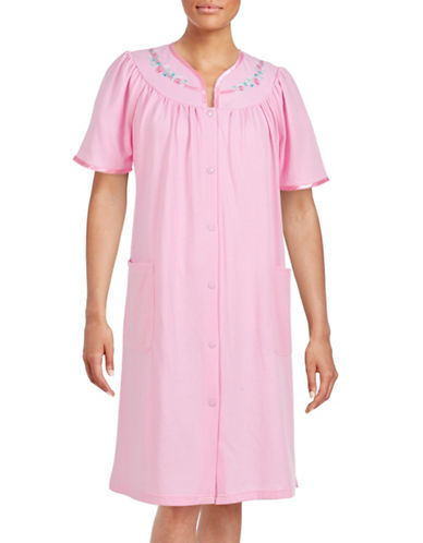 Jasmine Rose Plus Embroidered Snap Front Robe-PINK-Small plus size,  plus size fashion plus size appare